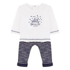 Absorba Baby Boys White Top &  Blue Stripped Joggers Set