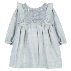 Tartine et Chocolat Girls Heather Grey Smocked Dress