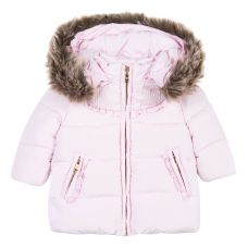 Tartine et Chocolate Girl's Faux Fur Trim Pink Coat