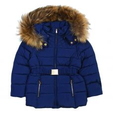 Tartine et Chocolate Girls Navy Blue Belted Down Jacket