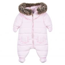 Tartine et Chocolate Baby Girl's Pale Pink Ruffle Snowsuit