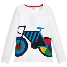 Paul Smith Junior Boys White Cotton Long Sleeve  'Stone' T-Shirt