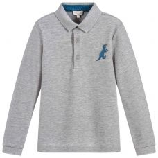 Paul Smith Junior Boys Grey Cotton Long Sleeve 'Scott' Polo Top