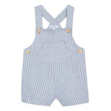 Absorba - Baby Boys Blue Striped Cotton Chambray Dungaree