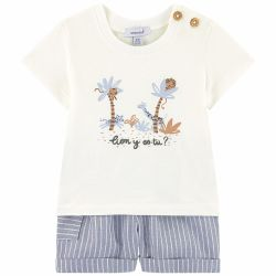 Absorba - Baby Boys Ivory Top & Blue Striped Cotton Chambray Shorts