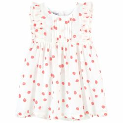 Absorba - Baby Girls Ivory & Pink Dot Print Dress