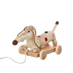 Anne-Claire Petit - Multi Stripe Small Dachshund Pull Toy Dog Car