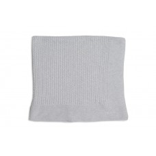 First - Light Grey Cable Knit Blanket