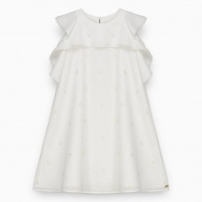 Tartine et Chocolat - Mother of Pearl Gold Leaf Pinafore Dress