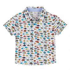 Paul Smith Junior - Baby Boys White & Fish Print 'Tarik BB' Shirt