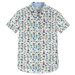 Paul Smith Junior - Boys White & Fish Print 'Tarik' Shirt