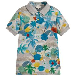 Paul Smith Junior - Boys Marl Grey Cotton 'Themis' Polo T.Shirt