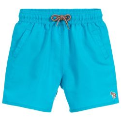 Paul Smith Junior - Boys Blue Danube 'Titan' Shark Swim Shorts