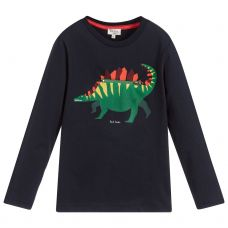Paul Smith Junior Boys Navy Blue Cotton Jersey Long Sleeve 'Surprise' T-Shirt