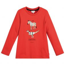 Paul Smith Junior - Boys Red Cotton Long Sleeve 'Sal' T-Shirt