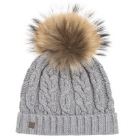 Tartine Et Chocolat - Flecked Grey Cable Knit Wool Hat