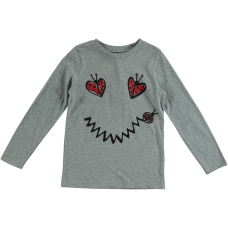 Stella McCartney Kids - Girls Grey Long Sleeve 'Bella' Ladybirds Print T.Shirt