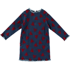 Stella McCartney Kids - Girls Blue Denim Long Sleeve 'Darcey' Dress With Red Hearts