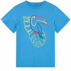 Stella McCartney Kids - Boys Ocean Blue 'Toucan' Cotton T.Shirt