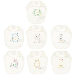 Stella McCartney Kids - Unisex 7 Piece Ivory Cotton Bib Set