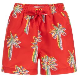 Stella McCartney Kids - Boys Red 'Palms' Swim Shorts