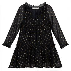 Stella McCartney Kids - Girls Black & Gold Long Sleeve 'Constance' Dress