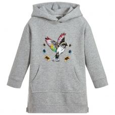 Stella McCartney Kids - Girls Grey Hooded Long Sleeve 'Mila' Dress
